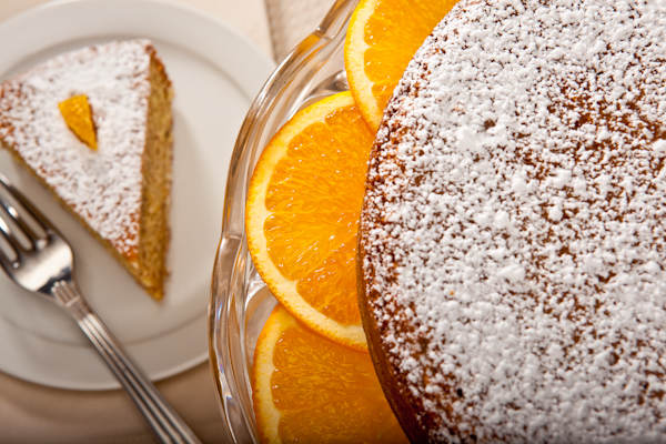 Orange Almond Torte with Orange Sauce and Marsala Cream