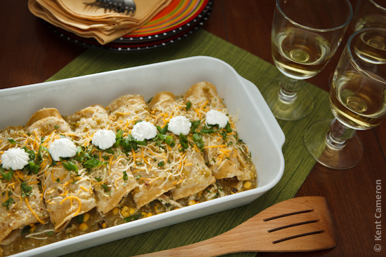 Roast Chicken and Corn Enchiladas with Tomatillo Sauce | A Food ...