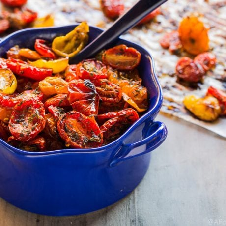 Herb Roasted Cherry tomatoes | AFoodCentricLife.com