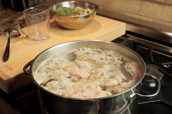 simmering chicken for broth|AFoodCentricLife.com