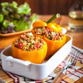 Turkey Quinoa Stuffed Peppers|AFoodCentricLife.com