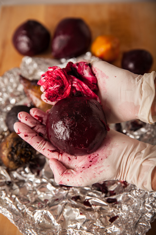 Rubbing the Skins off Roast Beets