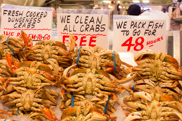 Pike Place market crab for sale