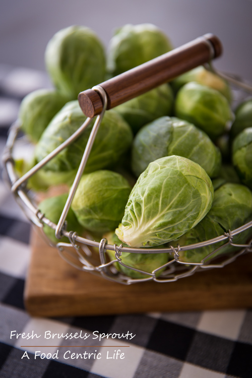 Basket of fresh Brussels sprouts