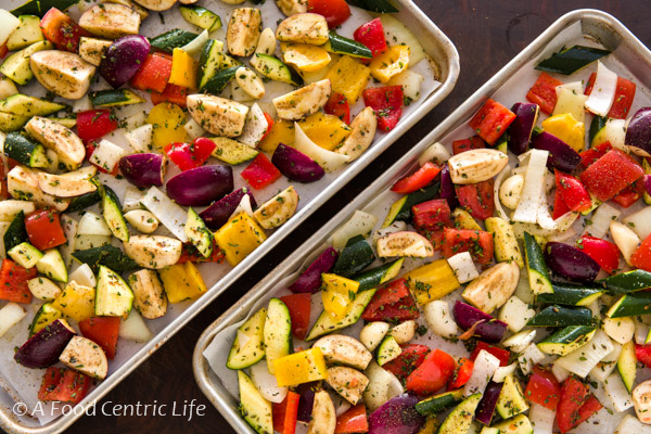 colorful vegetables on a baking sheet
