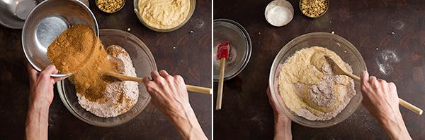 mixing banana bread