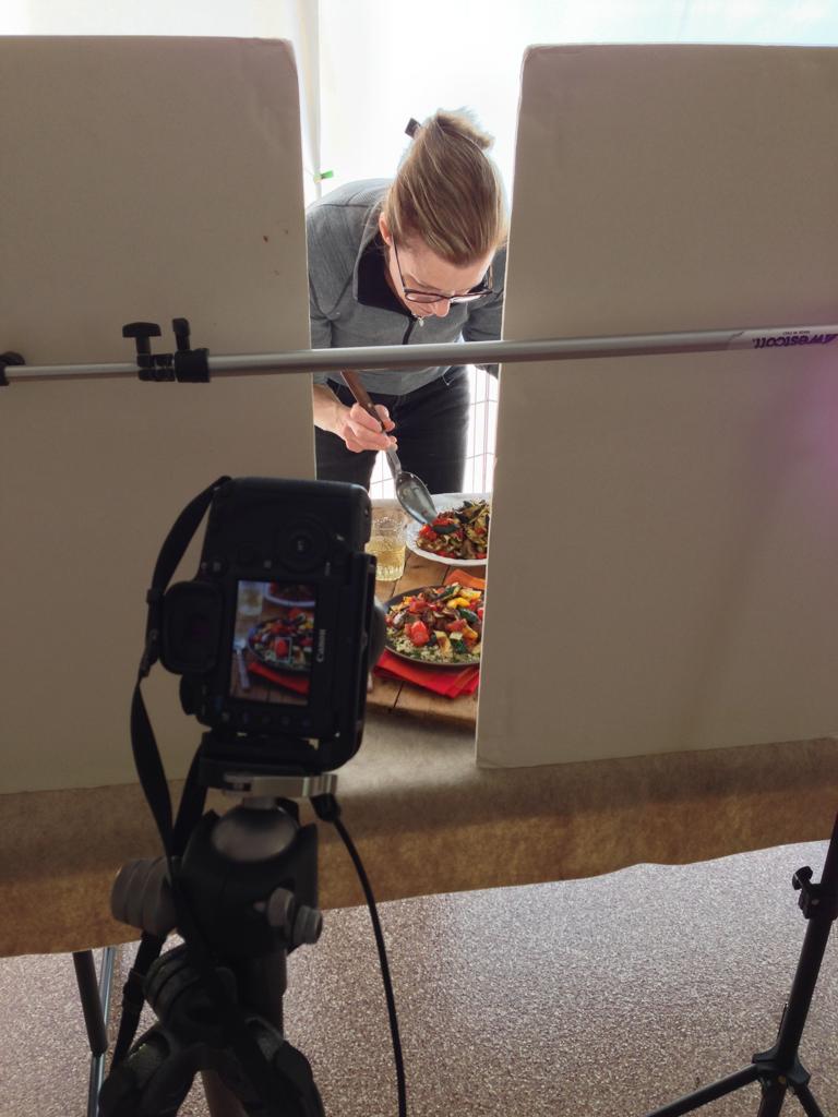 food photography set up shot or roasted ratatouille