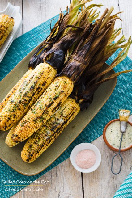 Grilled Corn on the Cob with Herb Butter|AFoodCentricLife.com