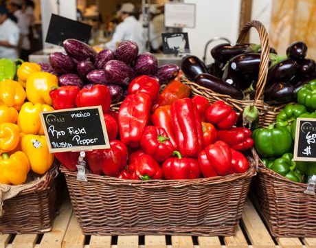 peppers in baskets