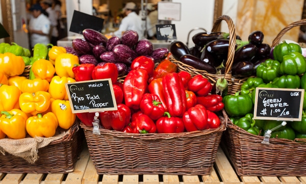 colorul bell peppers in baskets | afoodcentriclife.com