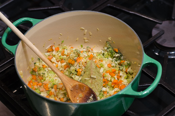 cooking vegetables for soup