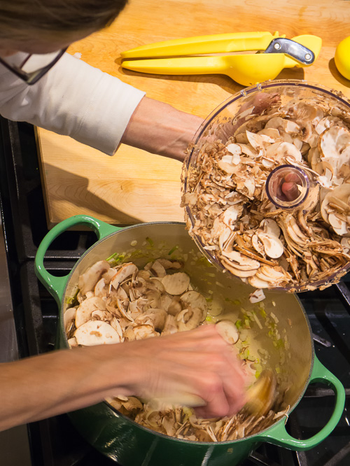 sliced mushrooms with Kitchenaid food processor
