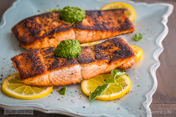 seared salmon with pesto