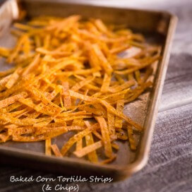 Baked Corn Tortilla Strip|AFoodCentricLife.com