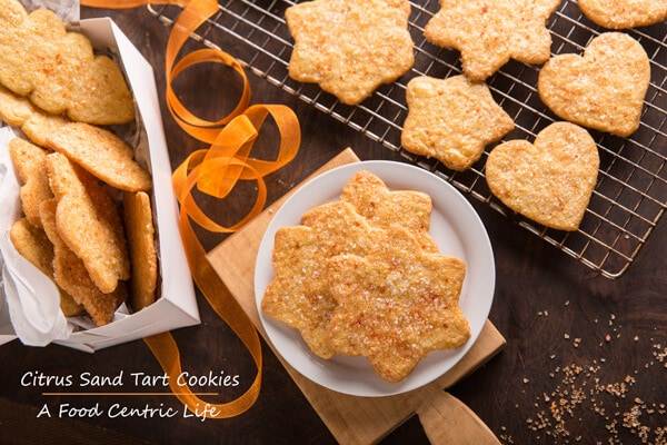 Citrus Sand Tart Cookies Top Down with Title