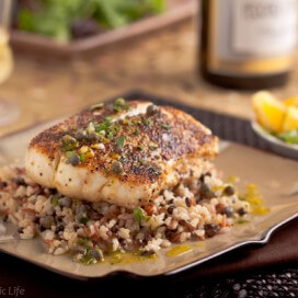 Pan Roasted Halibut with Lemon Caper Vinaigrette|AFoodCentricLife.com