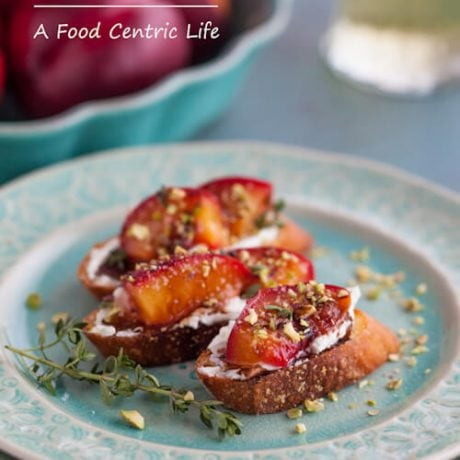 nectarine goat cheese crostini | AFoodCentricLife.com