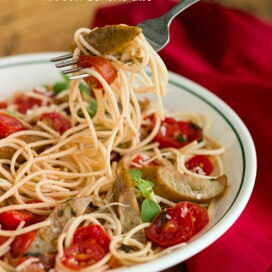 pasta with chicken sausage and tomatoes|AFoodCentricLife.com