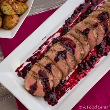 Pork tenderloin with blackberry wine sauce|AFoodCentricLife.com