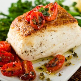 Roast Halibut with Roast Baby Tomatoes|AFoodCentricLife.com