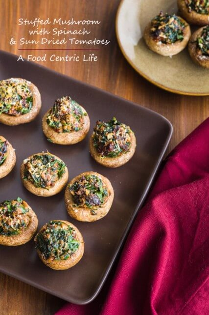 Stuffed Mushrooms and Spinach and Sun Dried Tomatoes