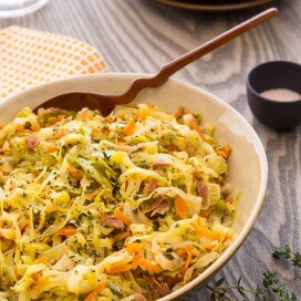 Braised Cabbage with Leeks and Bacon
