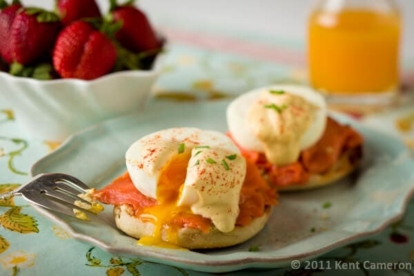 Smoked Salmon Eggs Benedict with Healthy Hollandaise Sauce