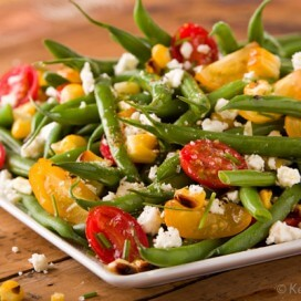 Green Bean Salad with Sweet Tomatoes and Grilled Corn|AFoodCentricLife.com
