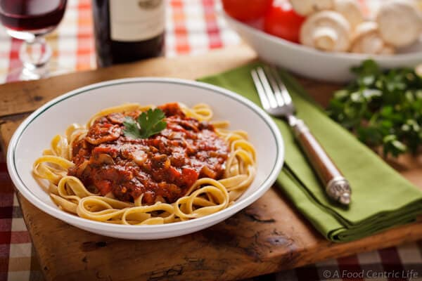 mushroom herb pasta sauce | afoodcentriclife.com