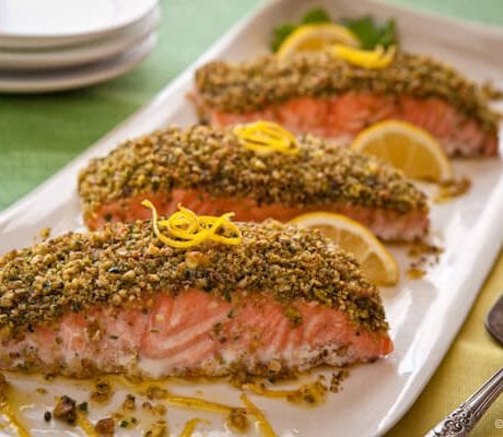 Pistachio crusted roast salmon | AFoodCentricLife.com