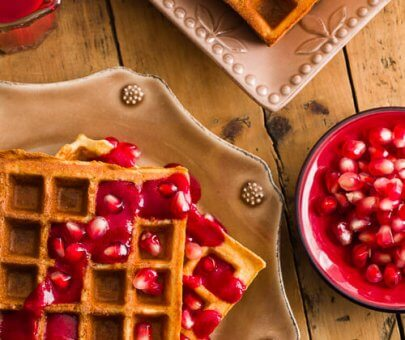 Raspberry Pomegranate Waffles