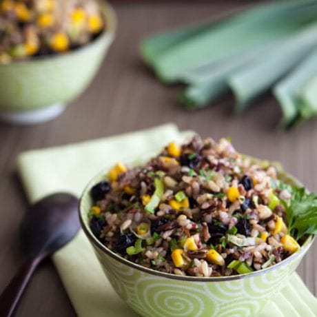 rice salad with corn ina bowl | afoodcentriclife.com