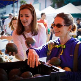 Sally Cameron and Kristine Kidd shopping at the Santa Monica Farmer's Market