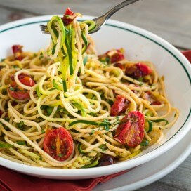 Zucchini Noodles with Roasted Tomatoes | AFoodCentricLife.com