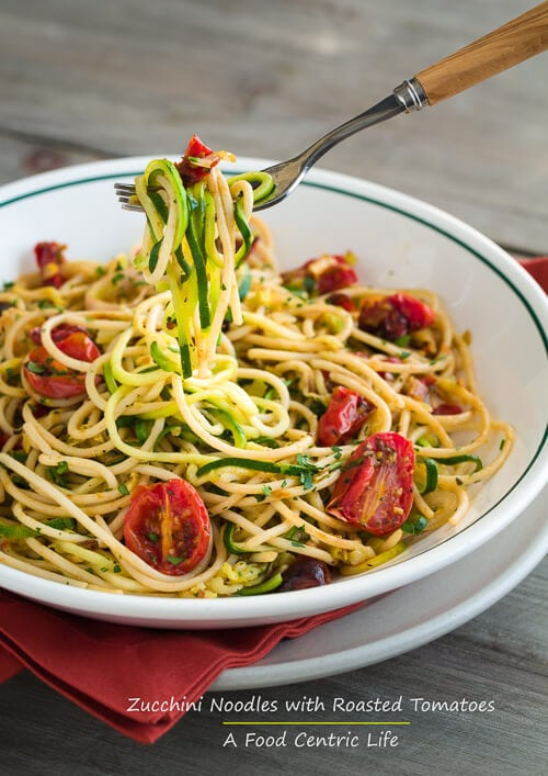 zucchini noodles with pasta and roasted tomatoes | a
