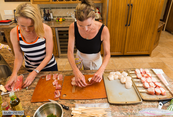 Making scallop skewers|AFoodCentricLife.com