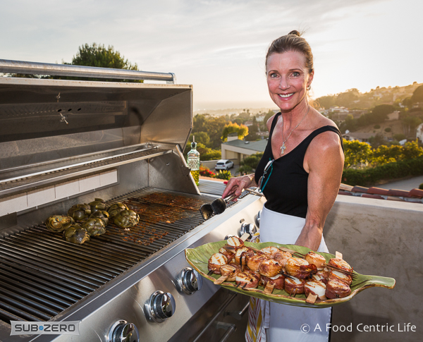 Chef Sally Cameron at the grill|AFoodCentricLife.com