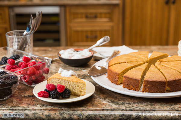 Lemond Almond Polenta Cake with Berries|AFoodCentricLife.com