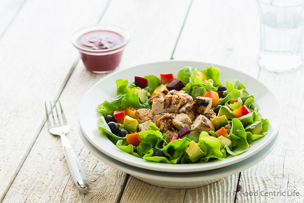 Grilled Chicken Salad with Blueberry Balsamic Vinaigrette|AFoodCentricLife.com