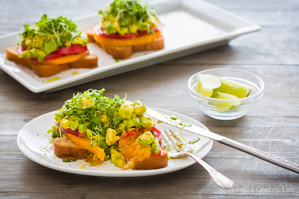 Heirloom Tomato and Avocado Toasts|AFoodCentricLife.com