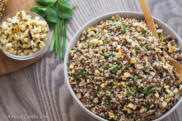 Grilled Corn and Quinoa Salad|AFoodCentricLife.com