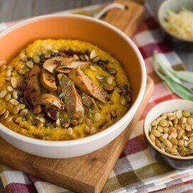 Pumpkin Polenta with Chicken Sausage|AFoodCentricLife.com