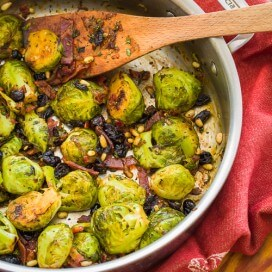 Brussels Sprouts with Bacon and Cranberries | AFoodCentricLife.com