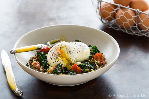 Poached Eggs with Quinoa & Kale|AFoodCentricLife.com