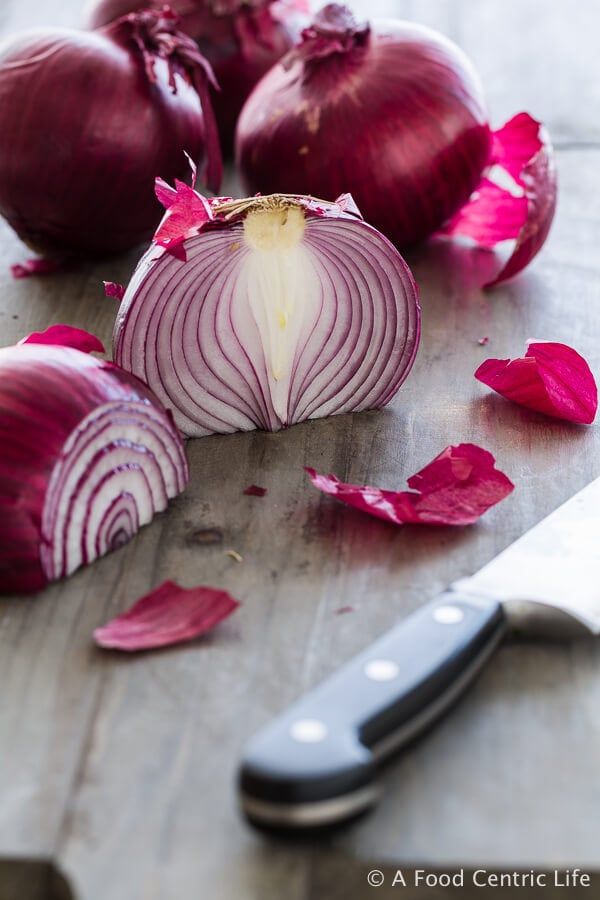 Sliced Red Onions|AFoodCentricLife.com