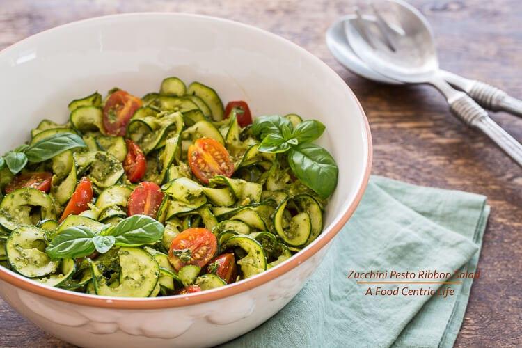 Zucchini Ribbon Salad|AFoodCentricLife.com