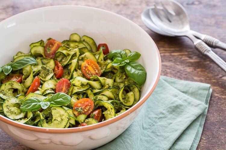 Zucchini Pesto Ribbon Salad | AFoodCentricLife.com