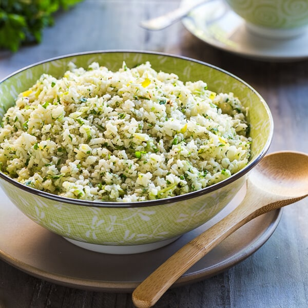 Cauliflower Rice with Parmesan and Herbs