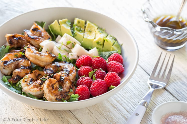Grilled Shrimp Avocado and Raspberry Salad|AFoodCentricLife.com