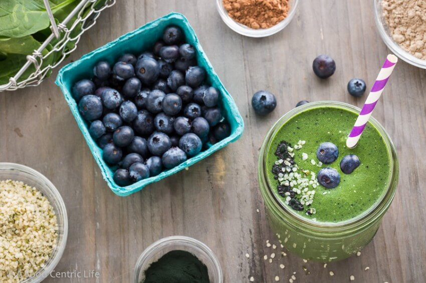 Superfood Blueberry Green Smoothie|AFoodCentricLife.com
